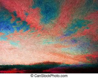impressionist, skyscape