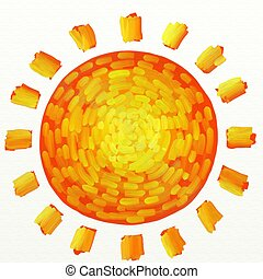 painted sun - impressionist style painted sun isolated on...