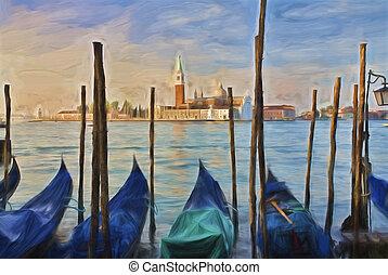 impressionista, arte, de, itália veneza