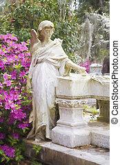 impressionista, arte, de, um, gravesite, em, a, bonaventure, cemitério