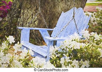 impressionista, arte, de, um, relaxante, madeira, azul, balanço, com, azaleas