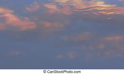 Impressionistic painting: white clouds in blue sky of river...
