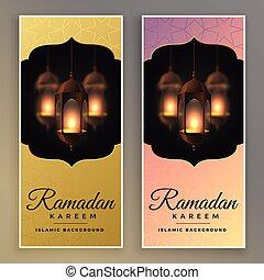 impressionnant, ensemble, bannière, ramadan, kareem