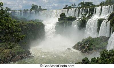 Impressive amount of water in the waterfalls in the Iguazu...