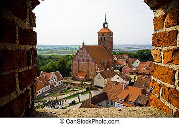 Impressive buildings in Reszel, Poland