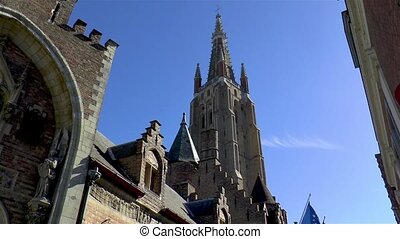 Impressive Church of Our Lady Bruges, in Bruges, Belgium.