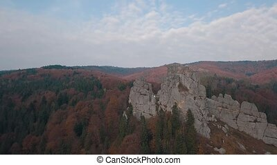 Impressive drone shot of the mountain hills in forest. Autumn. Aerial view