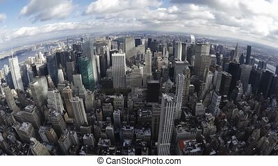 Impressive fish eye time lapse panorama view on modern architecture towers skyscrapers of New York Manhattan downtown