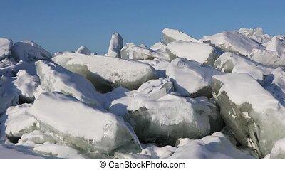 Impressive landscape with huge ridge of ice hummocks on Lake Baikal in Siberia, Russia