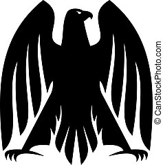 Impressive Imperial eagle heraldic silhouette - Black and...