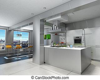 Impressive kitchen with view