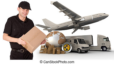 Impressive logistics - A messenger holding a package with a ...