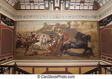 Impressive painting in Achillion palace, corfu, greece