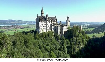 Impressive view of the Neuschwanstein Castle, in Bavaria, Germany.