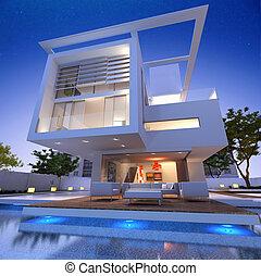Impressive villa - External view of a contemporary house...