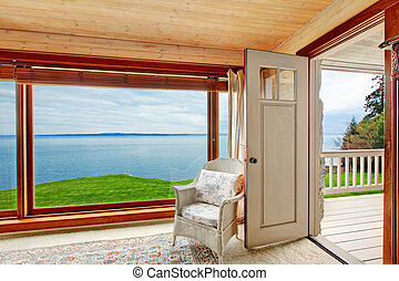 Impressive window view - Floor-to-ceiling window with an ...