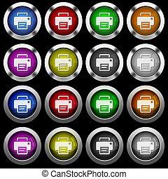 impressora, ícones, botões, pretas, lustroso, fundo, branca, redondo