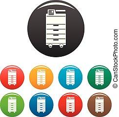 impressora, ícones escritório, cor, grande, jogo
