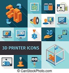 impressora, 3d, ícones