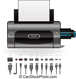 impressora, cabos, portos, laserjet, &