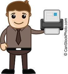 impressora, -, cartoons negócio, vectors