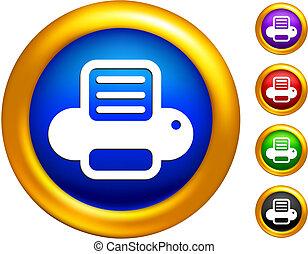 impressora computador, ícone, ligado, botões, com, dourado