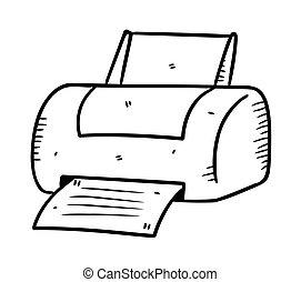 impressora, em, doodle, estilo