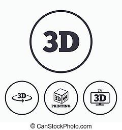 impressora, icons., arrow., rotação, tecnologia, 3d