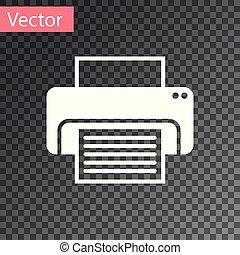 impressora, isolado, ilustração, experiência., vetorial, branca, transparente, ícone