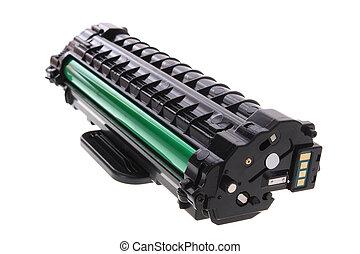 impressora, laser, cartucho, isolado, fundo, novo, branca