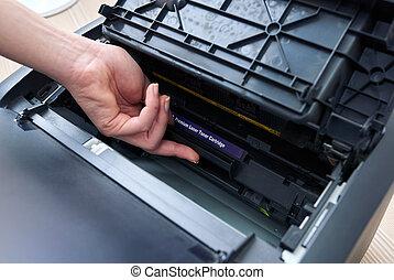 impressora, laser, cartucho, substituição