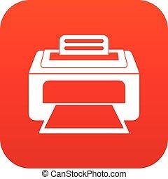 impressora, laser, modernos, digital, vermelho, ícone