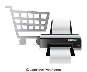 impressora, shopping, conceito