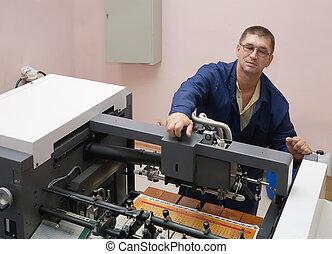 impressora, trabalhando, offset