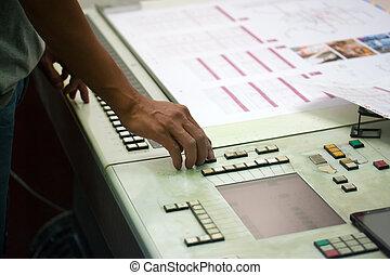 impressora, verificar, um, impressão, corrida, tabela