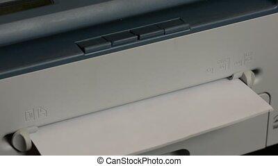 imprimante, captures, impression, il, papier, affichages, morceau, après