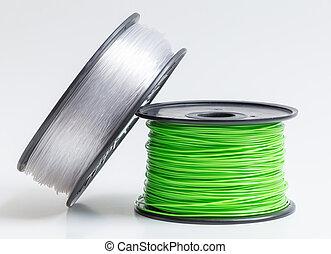 imprimante, clair, contre, cristal, clair, vert, filament, ...