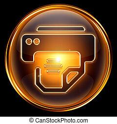 imprimante, isolé, or, arrière-plan., blanc, icône
