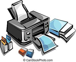 imprimante, jet, encre