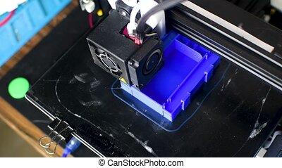 imprimante, plastique, imprimé, modèle, 3d, bleu