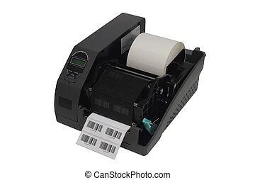 imprimante, sur, barcode, isolé, étiquette, fond, blanc