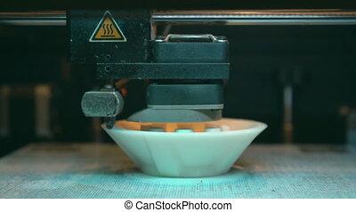 imprimante, tête, industriel, action., 3d