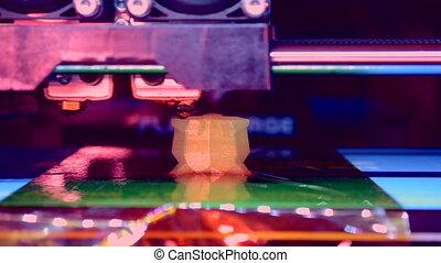 imprimante, trois dimensionnel, exécute, automatique, plastic., 3d