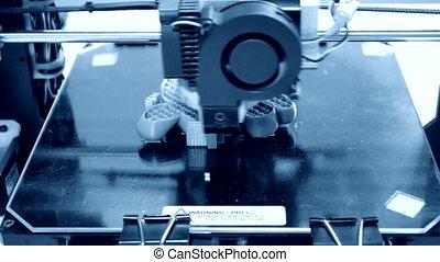 imprimante, trois, plastique, dimensionnel, exécute, automatique, 3d