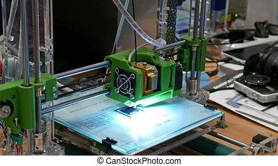 imprimante, trois, plastique, dimensionnel, laboratoire, 3d