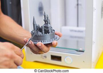 imprimante, work., moderne, trois dimensionnel, pendant