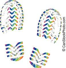 imprimer, pas, silhouette, trace, chaussures, semelle, isolé, coloré, rainbow., chaussures, vector., empreinte