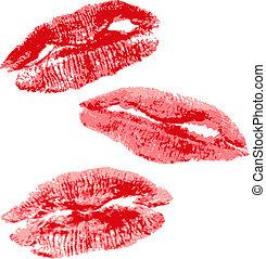 imprimer, réaliste, rouges, illustration, lips.