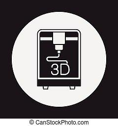 imprimindo, 3d, ícone