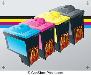 imprimindo, cartuchos, fundo, tinta